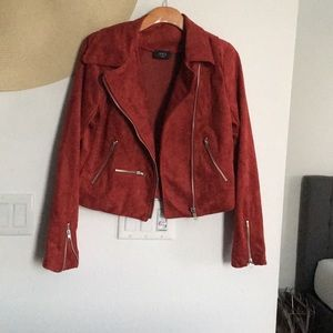 Red Faux Suede Jacket. Never worn.